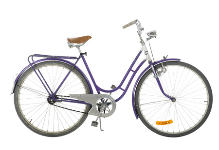 37071087: Purple Old fashioned bicycle isolated on white background