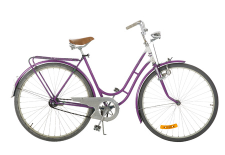 pedal: Pink Old fashioned bicycle isolated on white background