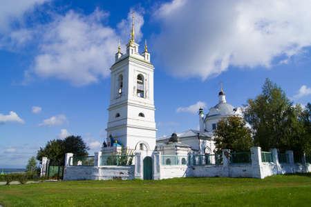 A Church in green field Stock Photo