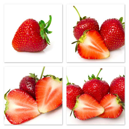 Beautiful strawberries isolated on white Stock Photo