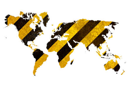 World map from yellow-black texture Stock Photo