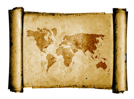 World map on vintage pattern Stock Photo