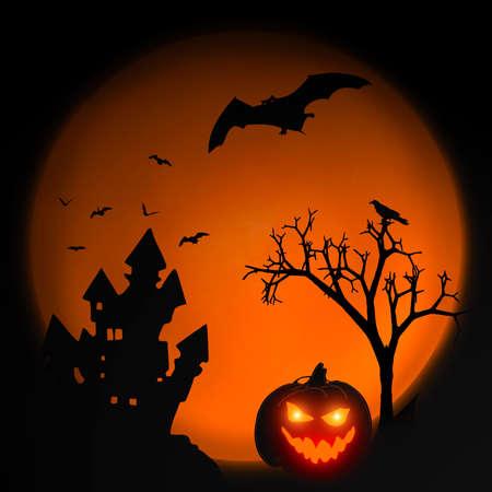 Halloween background with fire pumpkin