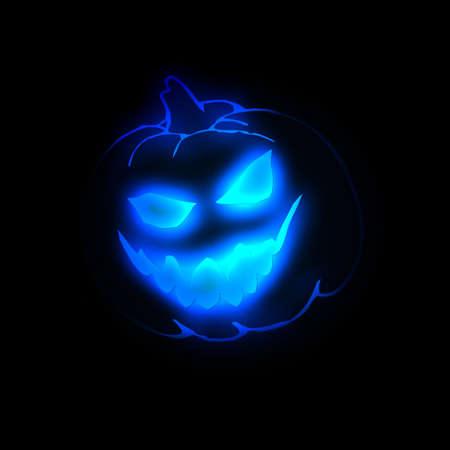 Halloween pumpkin blue neon Stock Photo