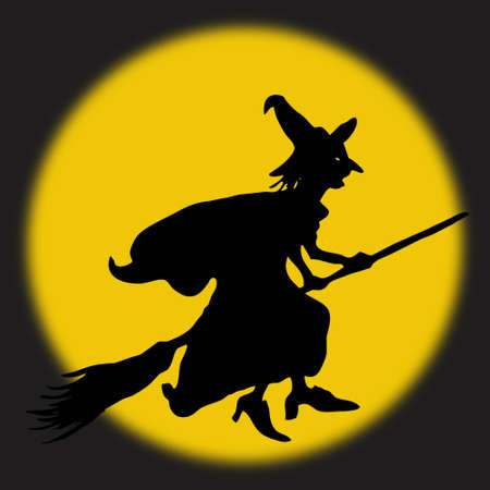 Halloween witch in thefull moon Stock Photo