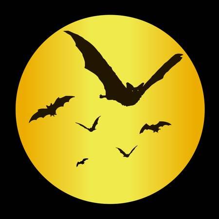Halloween bats against the moon