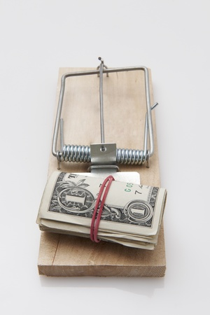 several dollar bills with elastic band  set on a mouse-trap photo