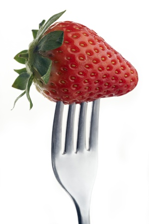 whole strawberry pierced on a fork against plain background Stock Photo - 12681389