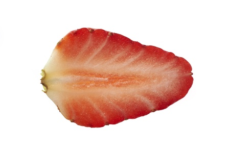 Overhead view of slice of strawberry on plain background Stock Photo - 12681387