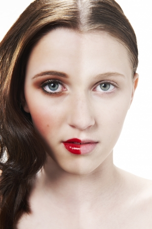Before and after photograph of womans face with halve made up and halve clean Stock Photo