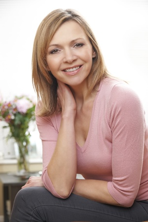 waist up portrait of mature caucasian woman in her 40s