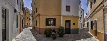 Panoramic view of traditional Ciutadella streets in Menorca