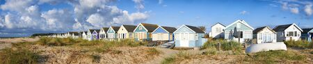 Panoramic view of Beach Huts overlooking beach and sea in Mudeford,Dorset
