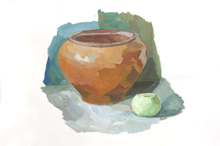 Hand drawing still life. Painting pot and apple