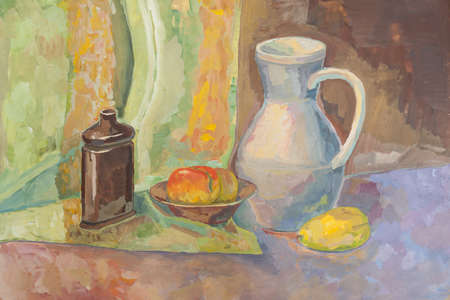 Hand drawing painting still life with jug and bottle