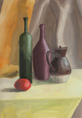 stil: Hand painting still life with jug, bottle, tomato
