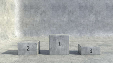 Winner stage awards. Podium and background made of metal with scratches and numbers. 3d render Banco de Imagens