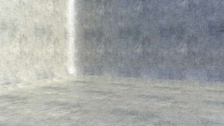 Empty metal interior background with shine and scratches. 3D rendering
