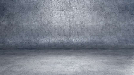 Dark empty metal interior background with floodlight and scratches. 3D rendering Banco de Imagens