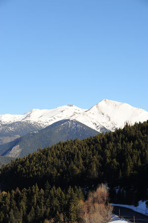 Snow-covered mountains in the ski area VallNord, Sector Pal, Principality of Andorra, Europe.