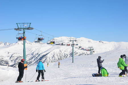 Snow-covered mountains Grandvalira, Principality of Andorra, Europe. 写真素材