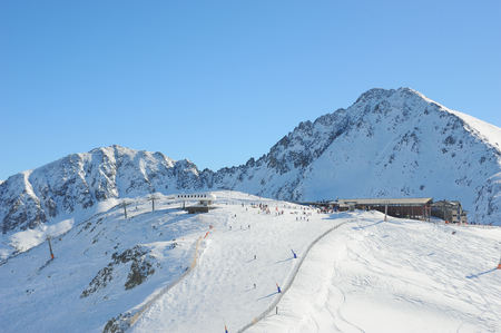 Snow-covered mountains Grandvalira, Principality of Andorra, Europe. Stock Photo