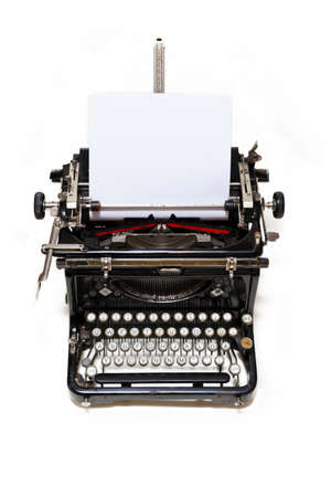 time machine: Old type writer with paper sheet