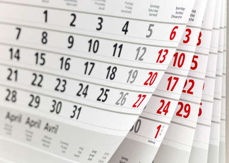 Close-up van een kalender pagina Stockfoto