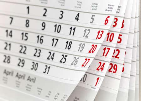 Gros plan d'une page de calendrier Banque d'images