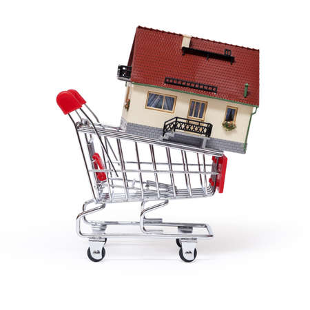 mortgaging:  Model of the house in shopping cart on white background
