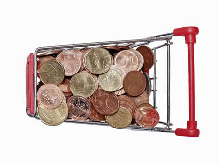 consumerist: a shopping cart is filled with well-euro coins on white background