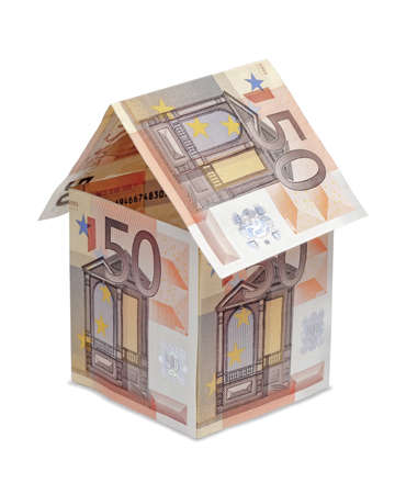 domiciles: house made of euro money bills isolated on white background  Stock Photo