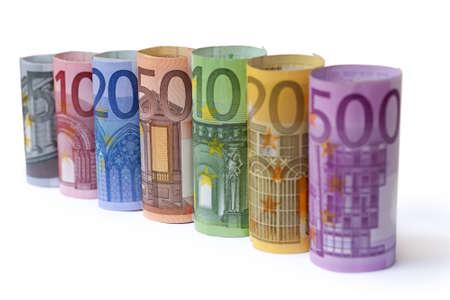 billets euro: Retrouss� Euro factures sur fond blanc