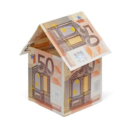 house made of euro money bills isolated on white background Stock Photo - 19595927