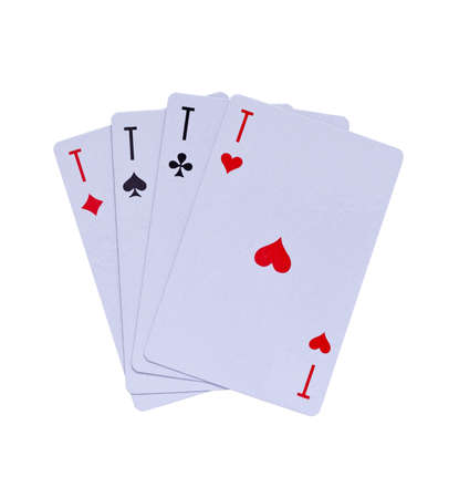 hold em: Four ace combination, isolated on white   Stock Photo