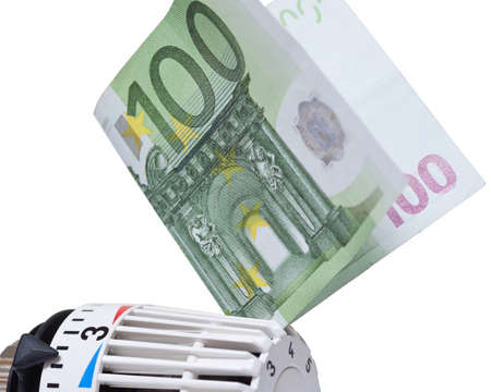 winterly: Thermostat with 100 euro  Heating costs  Stock Photo