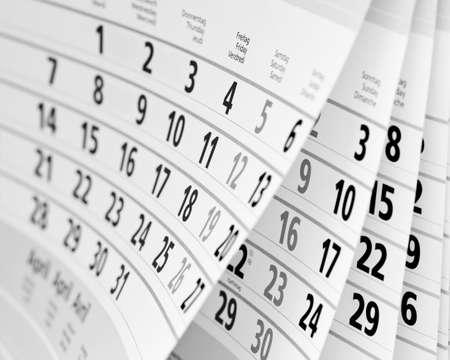Schließen Sie ein Kalenderblatt in schwarz-weiß Standard-Bild - 36898886