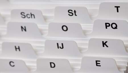 card index: Close up of a Business card index. Stock Photo