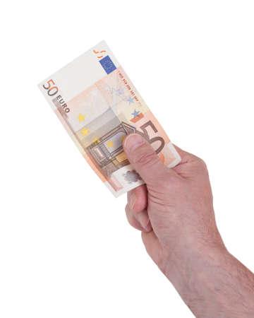 50 euro: Hand holding 50 Euro