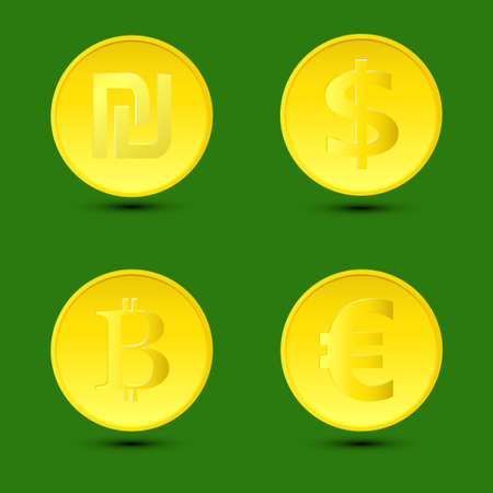 Vector illustration. A set  gold coins with shadows on the isolated green background.