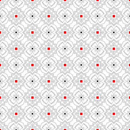 Modern vector seamless models of the repeating geometrical ornaments. Harmonious combination of red and black squares. Apply on packing, wall-paper, cards. Illustration