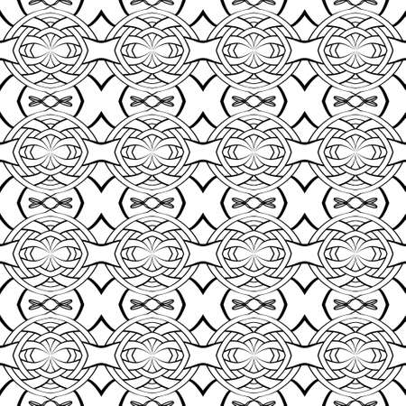 The ethnic seamless pattern consisting of simple geometrical figures and thin lines. Approaches on packing, cards, wall-paper. Vector illustration.