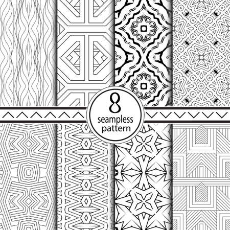 Set of seamless geometrical patterns. Regularly repeating ornament from simple geometrical figures. For a cover of cards, wall-paper, fabrics. Vector illustration.