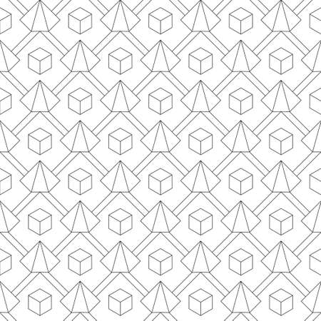 The seamless geometrical pattern of the thin line created from cubes and a pyramid.  Is suitable for packing, cards, wall-paper, texture, fabric. Vector illustrations