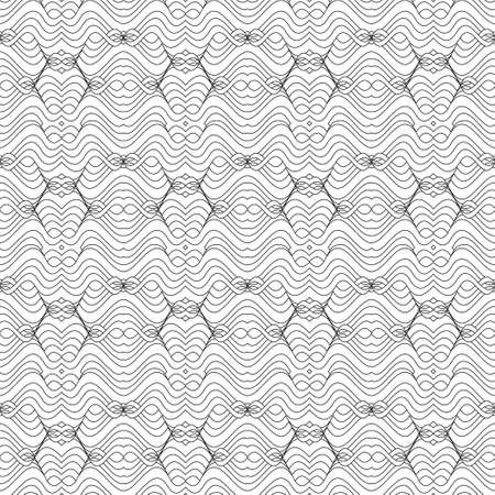 Seamless geometrical pattern. Thin curved line. A wattled modern fashionable background for design of the card, the poster, a flyer, a cover. Vector illustration. 向量圖像