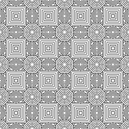 The seamless geometrical pattern consisting of coal lines, rhombuses, octagons and a dashed line. The repeating geometrical figures. Vector. Çizim