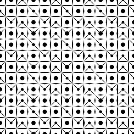 The seamless geometrical pattern consisting of the crossed lines and circles. The repeating geometrical figures. Vector.