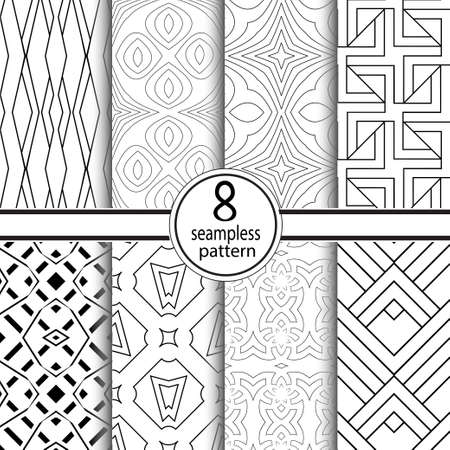 Set of seamless geometrical patterns. Regularly repeating ornament from simple geometrical figures. Vector illustration.