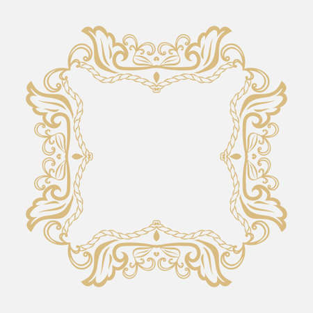 Circular baroque ornament. A gold frame in retro style for a logo, congratulatory, invitations, decoration. Vector. Иллюстрация