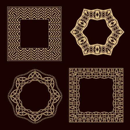 A set of a circular ornament. A set of magnificent gold frames for the monogram, wedding invitation.
